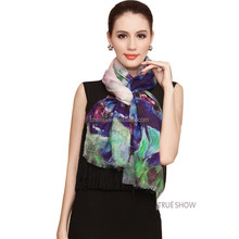 muslim dress Chuxiu 2017 latest custom logo print pure silk scarf
