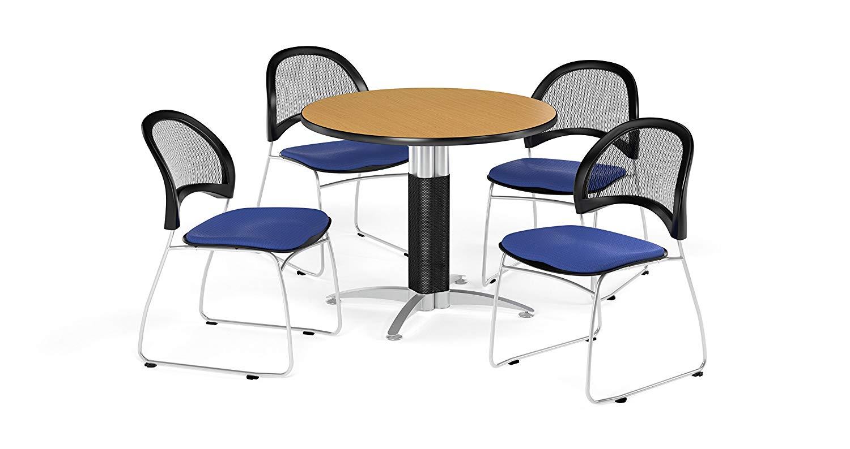 OFM PKG-BRK-175-0058 Breakroom Package, Oak Table/Royal Blue Chair