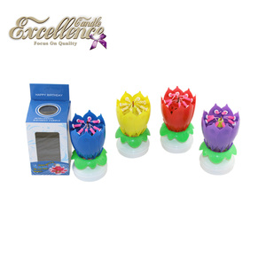 Factory Price Hppy Lotus Flower Spinning Musical Birthday Candle Round Based Double Layers