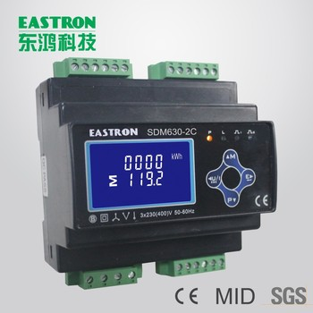 SDM630-2C Three Phase DIN-rail Programmable Energy Meter ,Dual input  Multifunction Power Meter for Lighting and Power Circuits, View Dual input