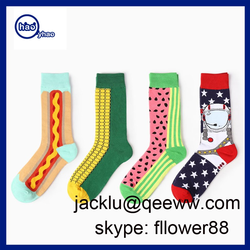 2017 Wholesale Custom Design Happy Syle Cotton Dress Socks