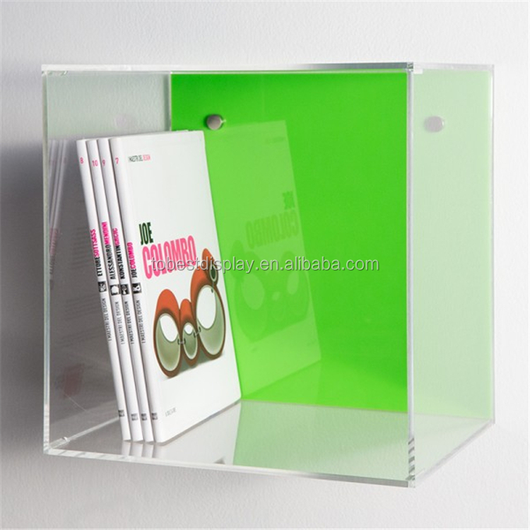 clear acrylic plastic wall cube shelves squre box books display box
