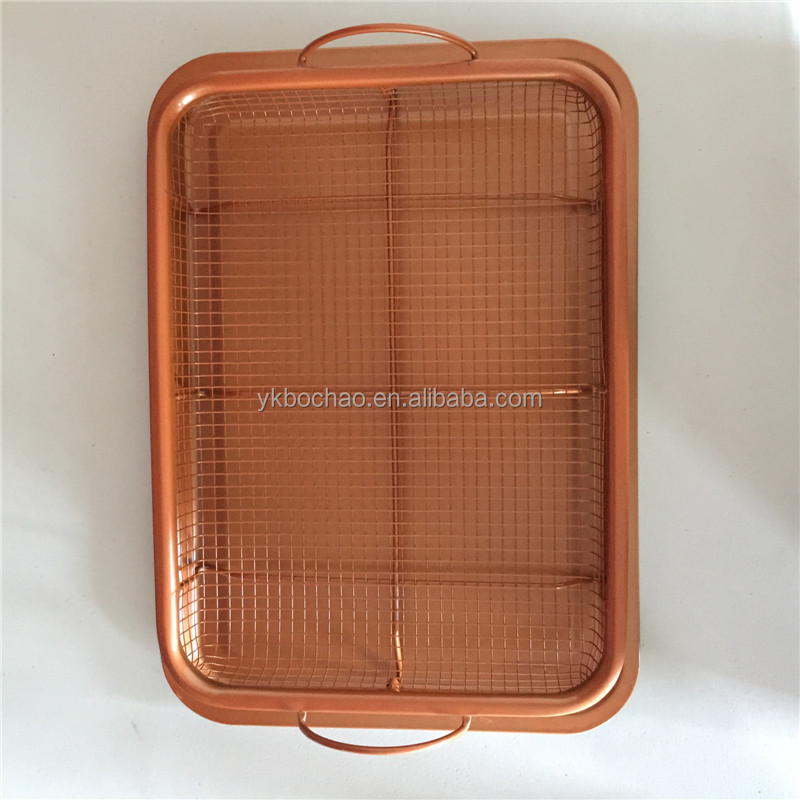 2pcs Copper crisper oven air fryer tray and copper pan
