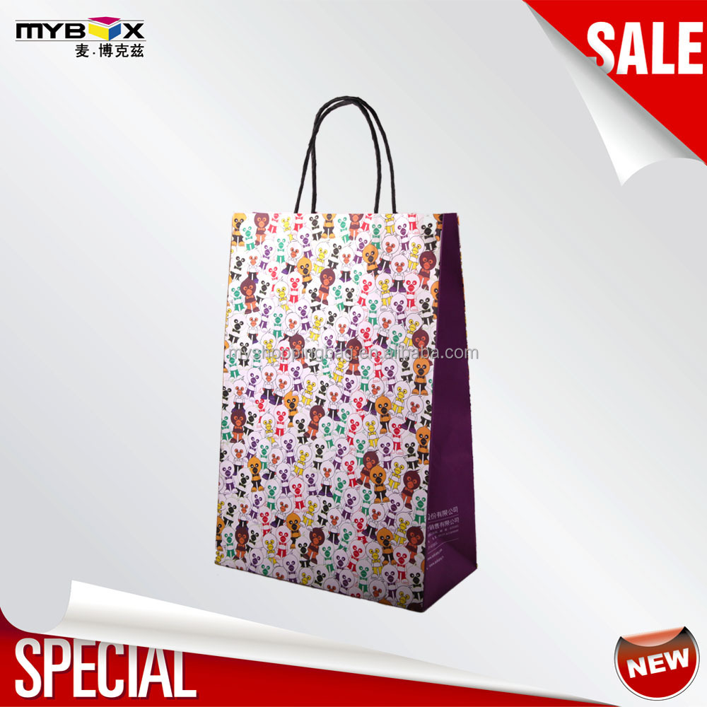 2015 popular colorful printing bags kraft paper company