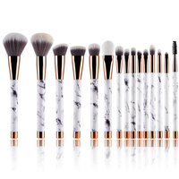 Custom Pro Make Up Brushes Set Art High Quality Naked Cosmetic OEM Private label 15pcs Marble Makeup Brush