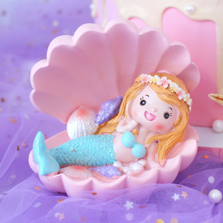 Resin Miniature Fairy Figurines Garden and Terrarium Mermaid on Shell Statue