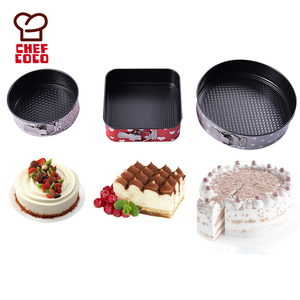 Chefcoco brand 3 pcs assort of round and square carbon steel springform cake pan set with printing coating supplies