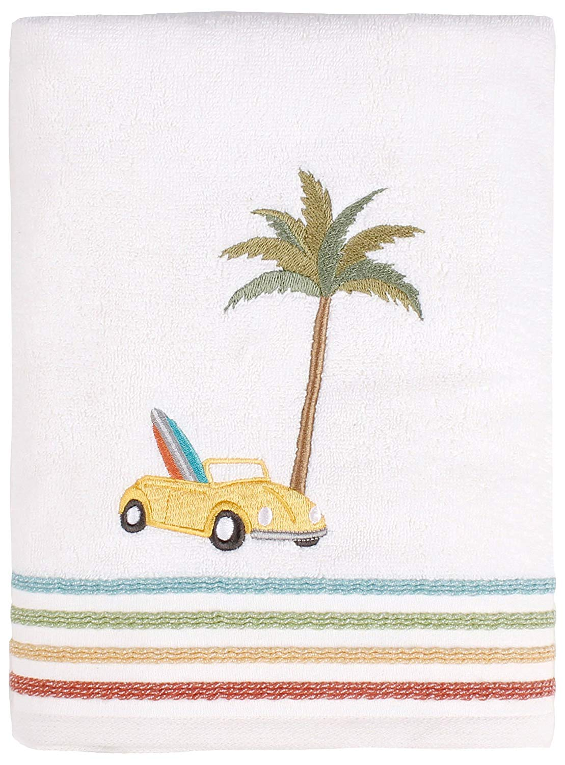 Saturday Knight by The Surf Bath Towel Collection Bath Towel White/Blue/Yellow/red