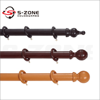 wooden color window curtain rods/poles/pipes