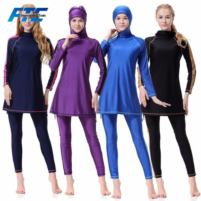 Sport & Unterhaltung Muslimische Bademode Frauen Bademode Muslimischen Kleiden 4 Farbe Muslimischen Badeanzug Schwimmen Modest Burkini Langarm Komfortable