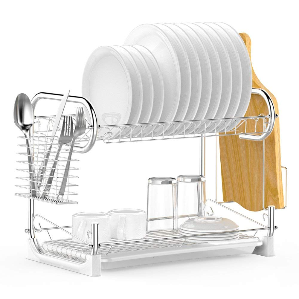 Dish rack ace teah 2 tier 2 tier dish drying rack with drain board set