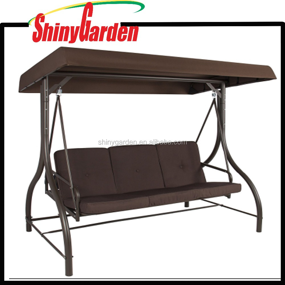 3 Sets Modern Converting Outdoor Patio Metal Swing Chair, Canopy Hammock Deck Furniture