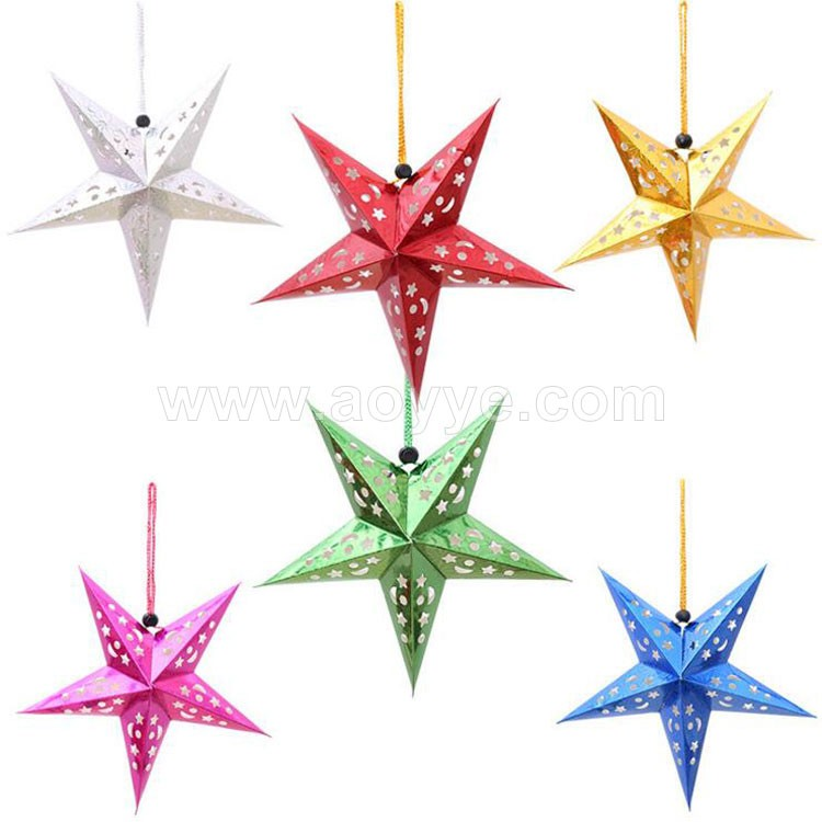 Handmade 3 d laser ceiling pendant wedding festival party hanging ornament decoration five star paper Christmas pentagram