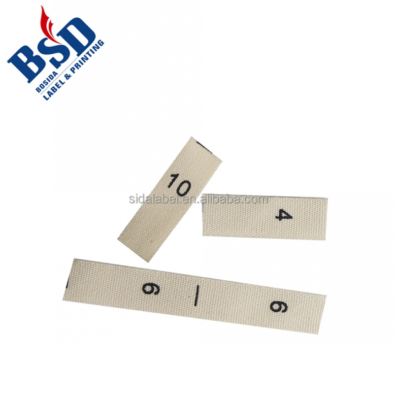 High quality garment t-shirts sizing labels cotton tape printed size labels