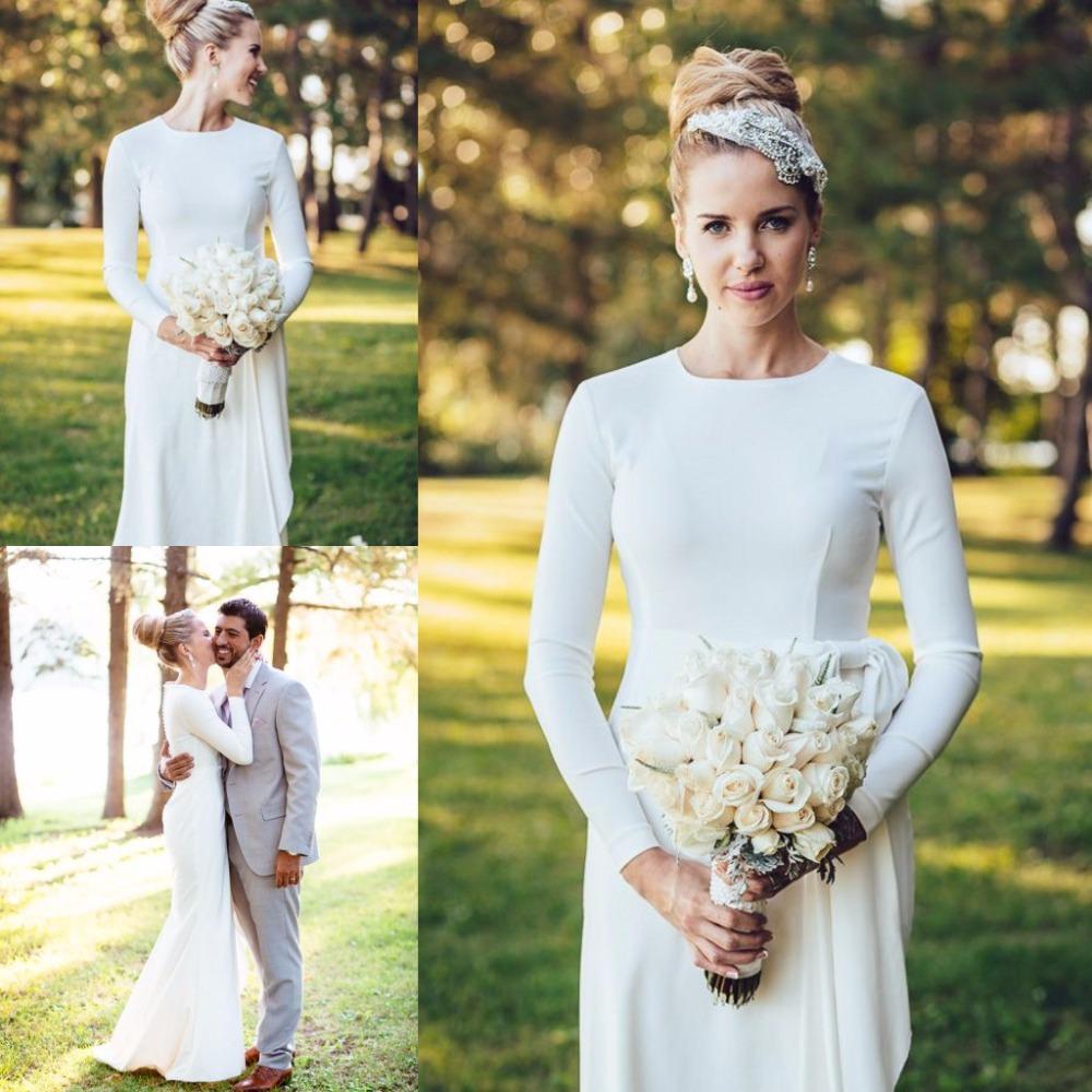 Elegant Simple Long Sleeve Wedding Dress: Elegant Simple Wedding Dress High Neck Long Sleeve Mermaid