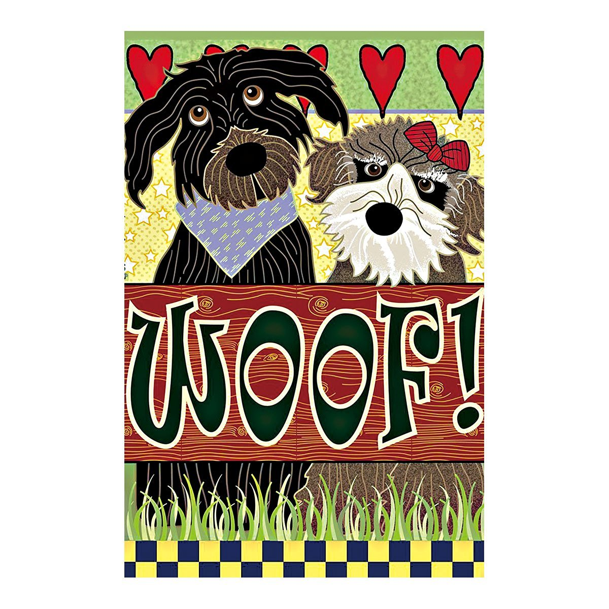 ... Pet Dog Pattern Garden Flag Lovely Couple Schnauzer Woof Double Sided  Outdoor Flags Of 100%
