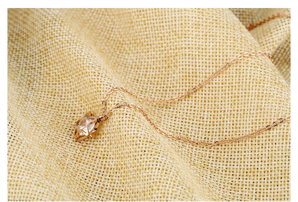 Wholesale Jewellery Women Charm Pendant Big Zircon Rose Gold Star Necklace