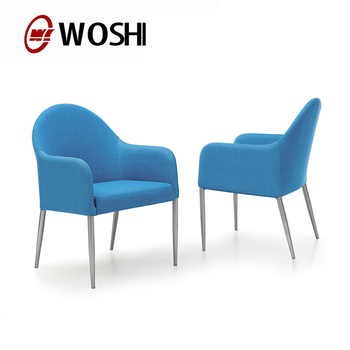 Newest Design Furniture Chair Blue Fabric Cover Modern Round Arm Hotel Lounge