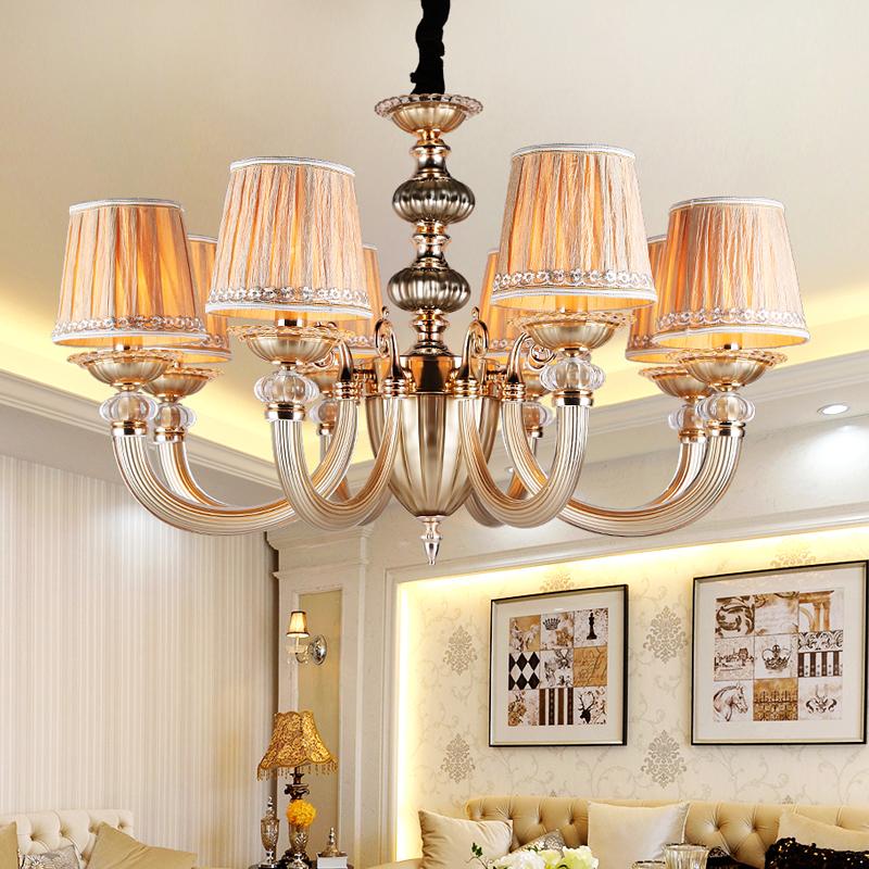 Double-decker villa chandelier American retro living room restaurant clubhouse copper chandelier European lamps