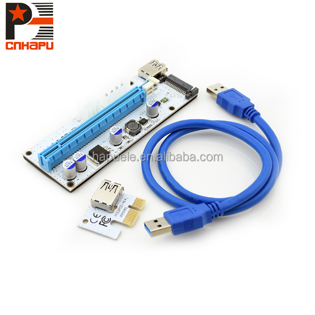 Best Performance new version ver008s pci-e pci express riser pcie connector, pci-e express 1x to 16x usb 3.0