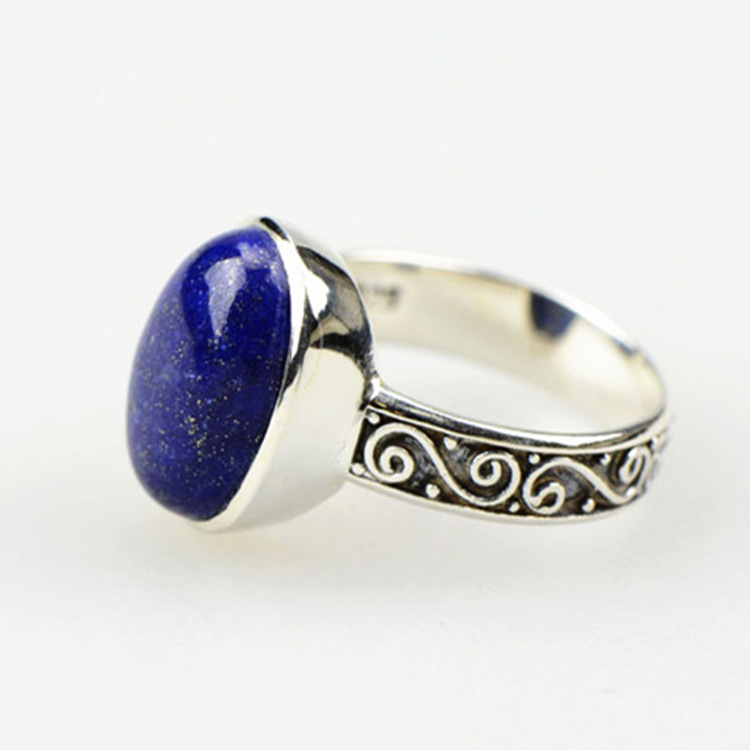 LST  Genuine 925 sterling silver  lapis lazuli ring  sterling silver jewelry fashion  rings for women