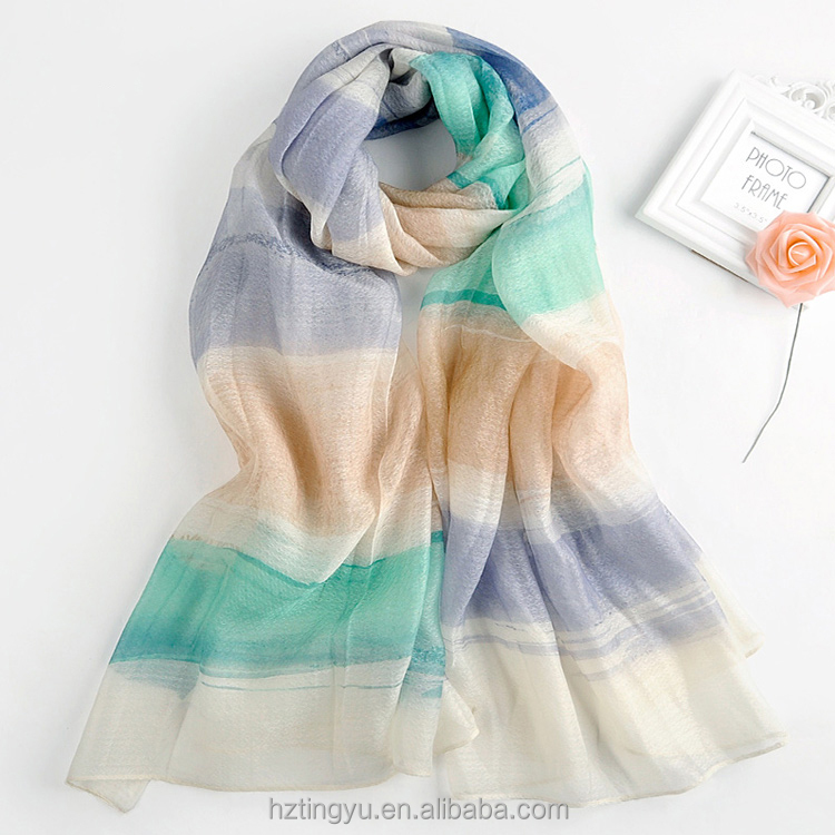 Top Seller Fashionable Lady Wool Blend Scarf Printing Merino Wool Scarf Women