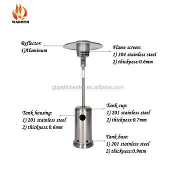 Essential Garden Patio Heater, Gas Outdoor Infrared Heaters Manufacturer, Stainless  Steel Patio Heater With