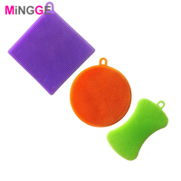 3 Silicone Dish Washing Sponge Scrubber Kitchen Cleaning Antibacterial Tool sponge