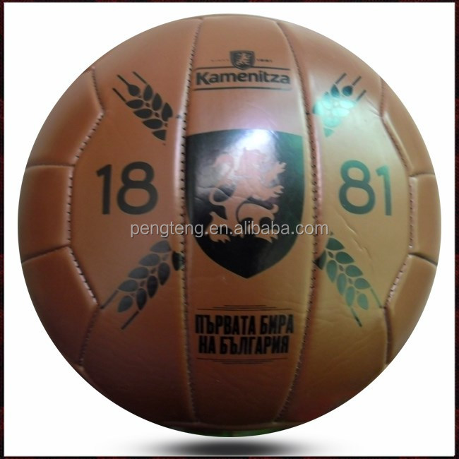 machine stitched 18 panels brown retro soccer ball