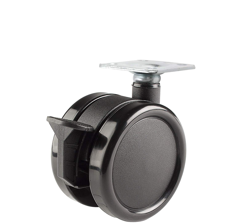 110 lb Capacity Range 7//16 x 7//8 Grip Ring Stem Twin Wheel Caster Solutions TWHN-50N-G20-CH 2 Diameter Nylon Wheel Hooded Non-Brake Caster