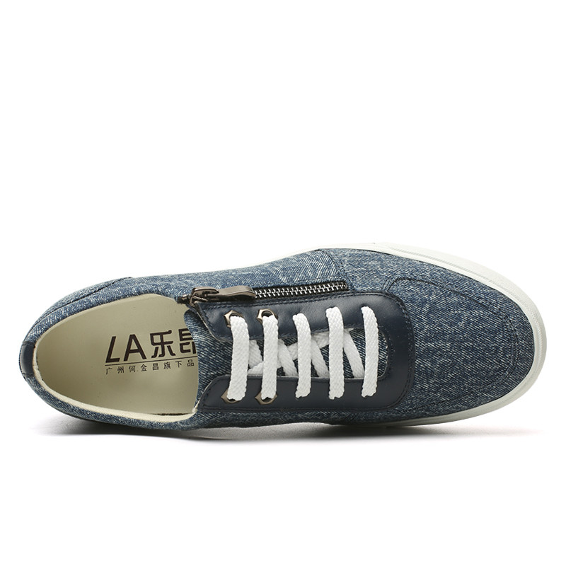 with jeans blue zipper Men shoes 6cm Canvas taller qwHvYP