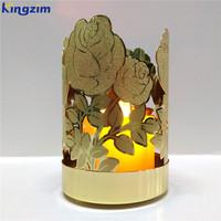 Rose flower cut metal tealight candle holder with candles jar & lantern