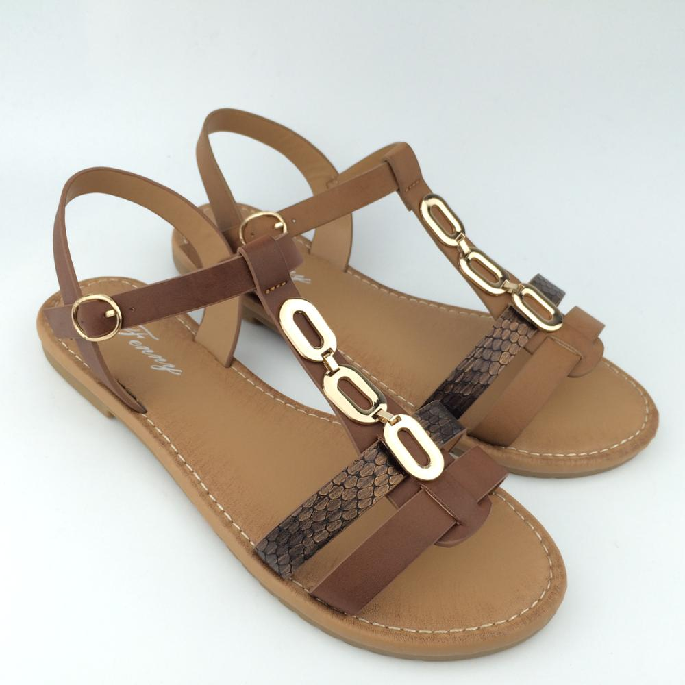 59607e7ec76b Ladies Flat Sandals Closure Type Buckle Strap Type Ankle Strap - Buy ...