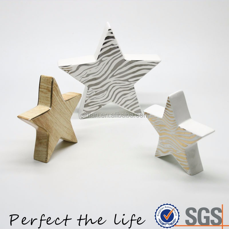 Silver Zebra Plating Ceramic Christmas Star Decoration Gift