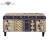 Living room bedroom furniture Indian import fabric ethnic storage bench