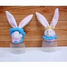 Easter plush bunny for plastic candy container