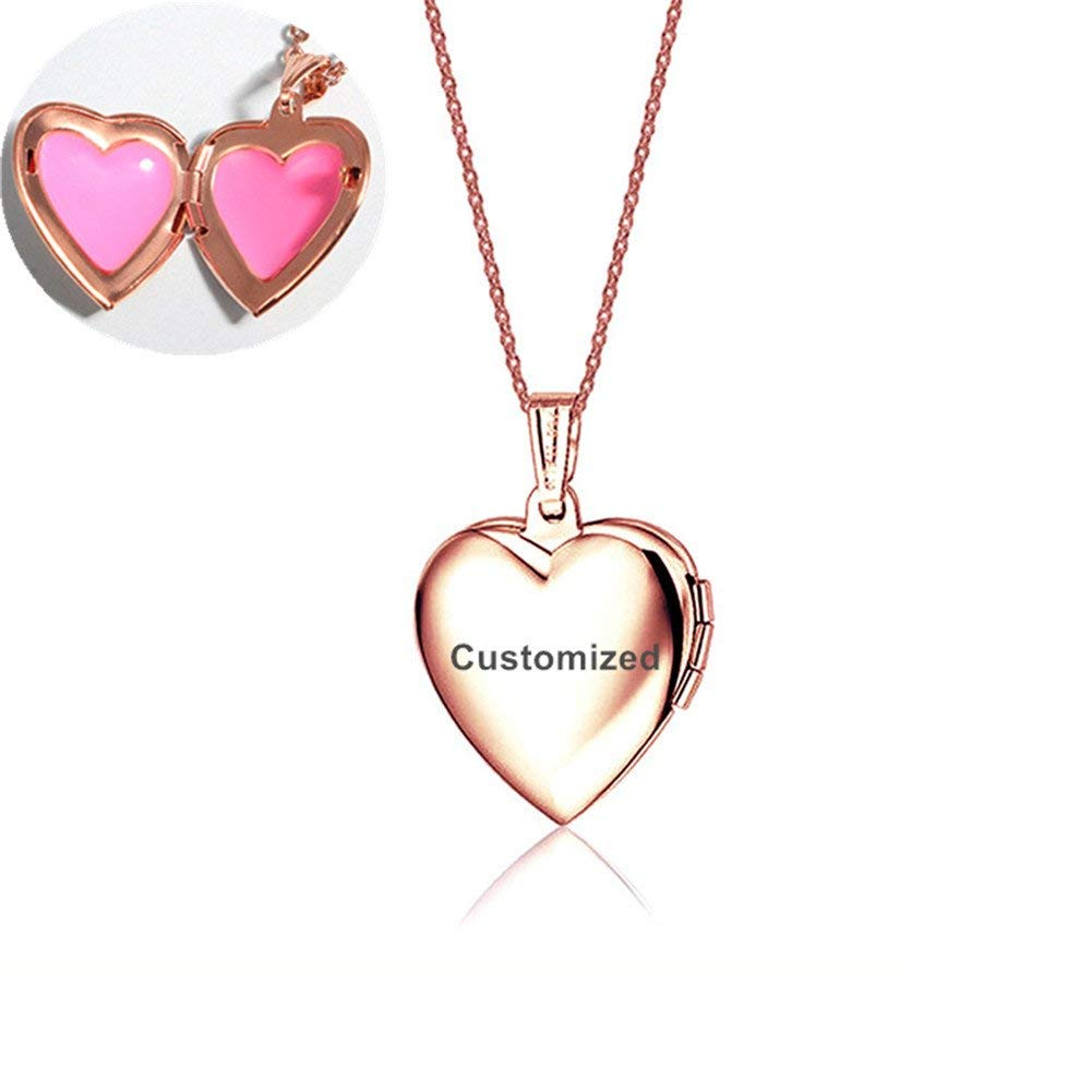 LiFashion LF Stainless Stee 18K Rose Gold Plated Personalized Name Date Love Custom Heart Locket Necklace that Holds Pictures Openable Photo Pendant for Girls Womens,Free Engraving Customized