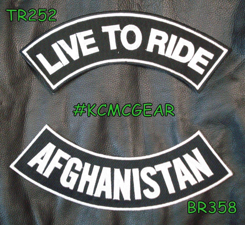LIVE TO RIDE AFGHANISTAN Rocker Patches Set for Biker Vest