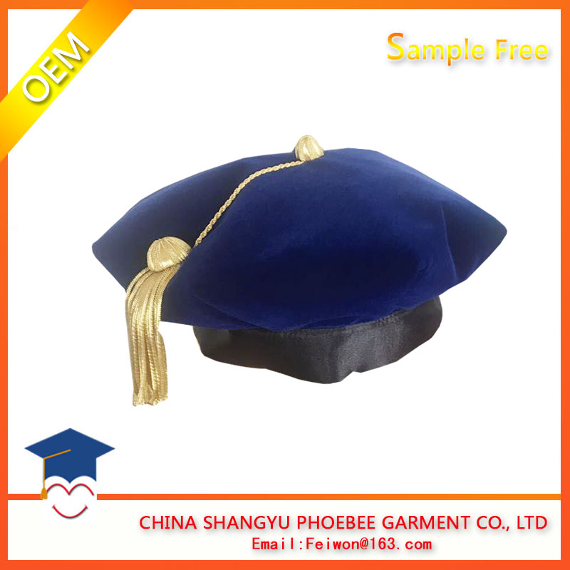 Graduation Doctoral Tam with Golden Bullion Tassle 8 Sided