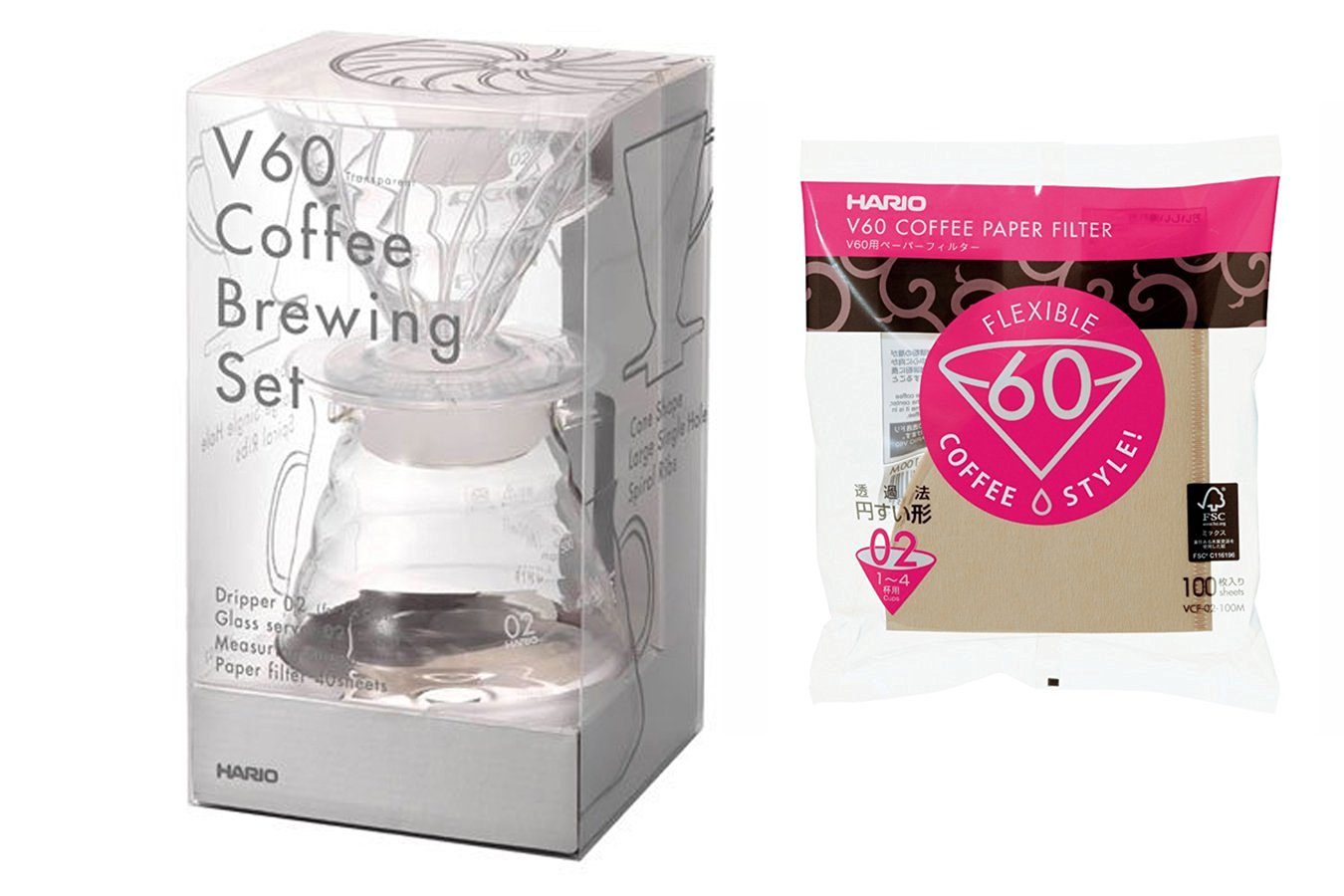 Hario V60 Series - Clear Drip Coffee Brewing Set & 100 Extra Filters (140 total)