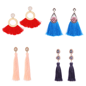 Handmade Bohemia Ethnic Tassel Jewelry Long Silk Thread Tassel Earrings Gold Plated For Women 2018