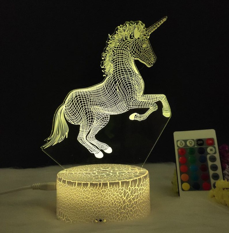 2019 new 3d unicorn night light led remote control 16 colors flashing table lamp for kids