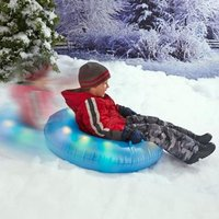 Telisii Winter Durable Inflatable LED Light Snow Tube Thicker Cold Resistant Snow Sled Round With Big Grab Handles With Small P