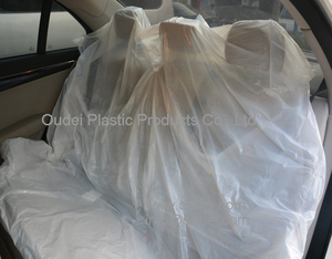 Disposable plastic car seat cover for rear seat