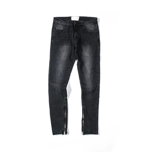 Medium Washing Material Denim Pants Men Full Length High Street Men's Jeans Black