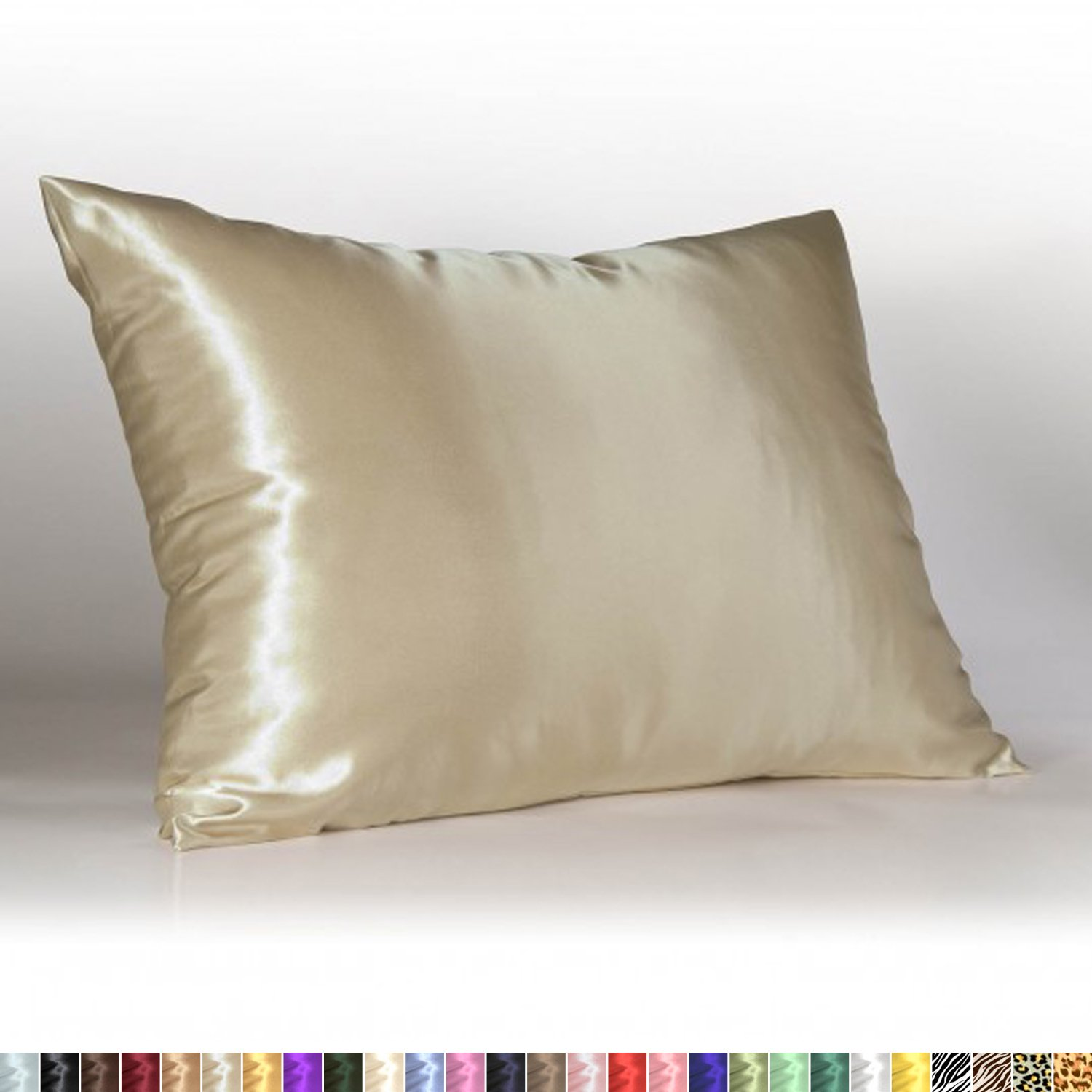 Sweet Dreams - Blissford Luxury Satin Pillowcase with Zipper, Standard Size, Champagne (Silky Satin Pillow Case for Hair) By Shop Bedding (1-Pack)