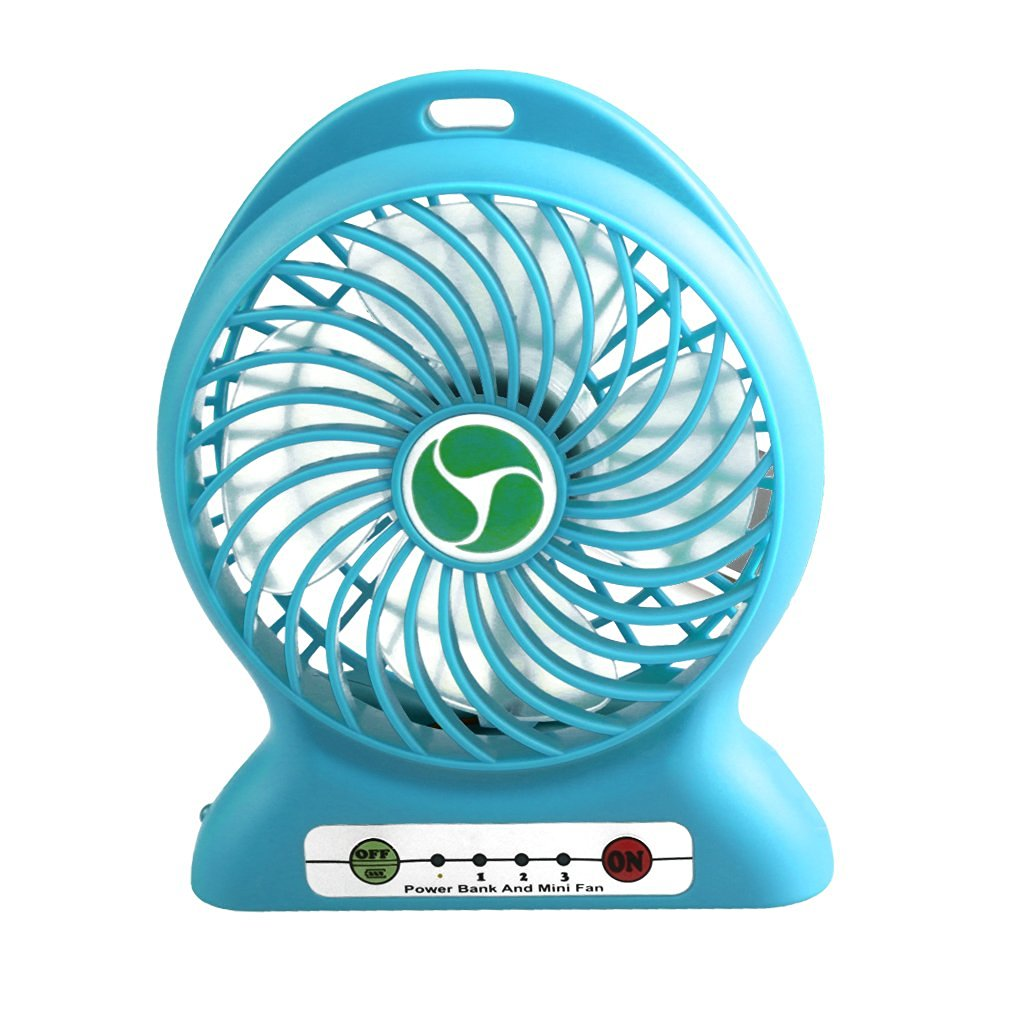 Inoble Handheld Portable Mini Fan [With Led Lamp] Powered By Rechargeable Lithium Battery[Additonal Function As Power Bank] or USB Wire Provided Ideal for Hot Summer Outdoor Travelling,Camping,etc,Also Act as Desktop Fan for Indoor Activities(Blue)