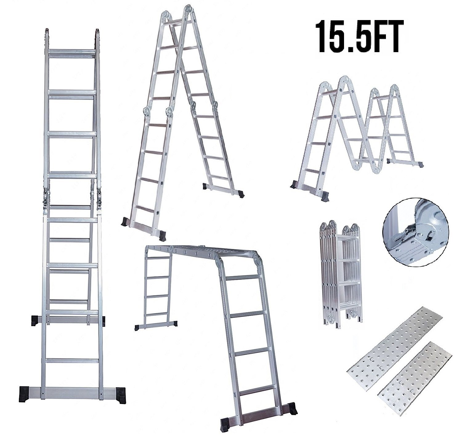 Get Quotations · Idealchoiceproduct 15.5u0027 Heavy Duty Gaint Aluminum Multi  Purpose Folding Ladder Scaffold Ladders With 2 Platform