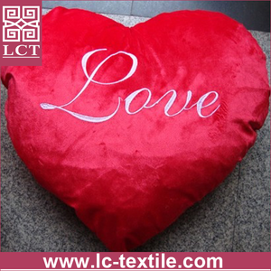 wholesale Soft and huggable made of micro plush embroidery heart pillow for valentine gift(LCTP0130)
