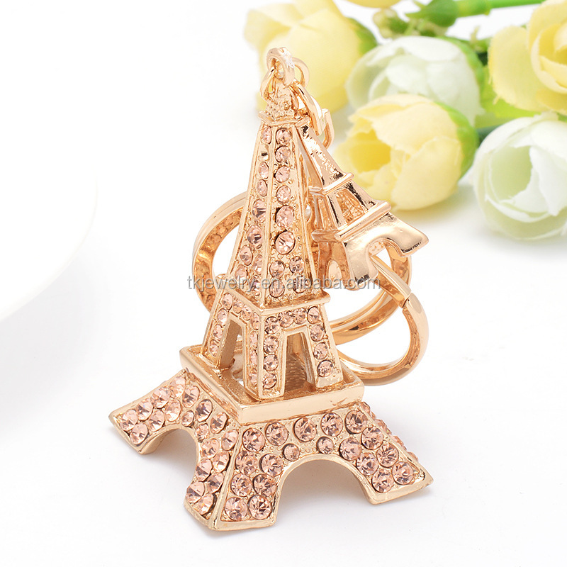 Manufacturer Wholesale Paris Eiffel Tower Keychain With Pink Rhinestone Cute Keyring For Bag Car Accessory